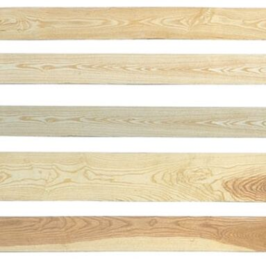 view of several different types of grain's and colours that can be achieved from Ash FSC hardwood.