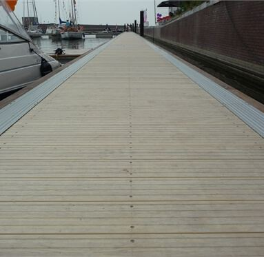 close up view of hardwood decking being used on a dock.