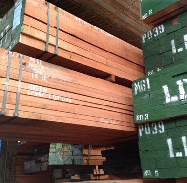 Meranti hardwood at one of Direct Timber's warehouses.
