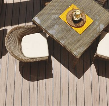 top down view of garden furniture and decking, the decking boards being from the UPM ProFi range.