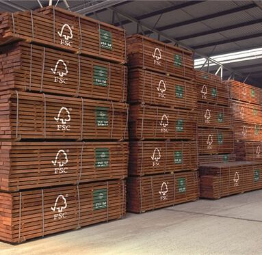 FSC LDT Timber stacked upon each other at one of Direct Timber's warehouses.